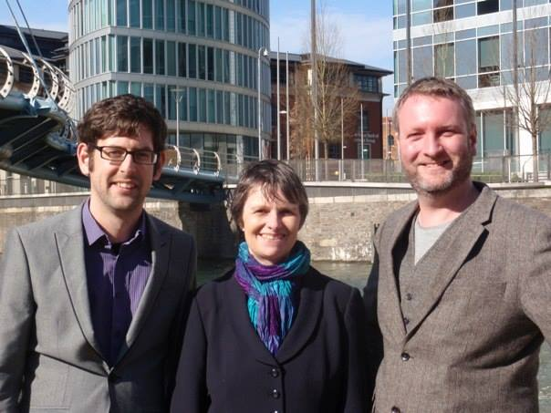 Rob (l) and Gus (r) with the South West's Green MEP Molly Scott Cato